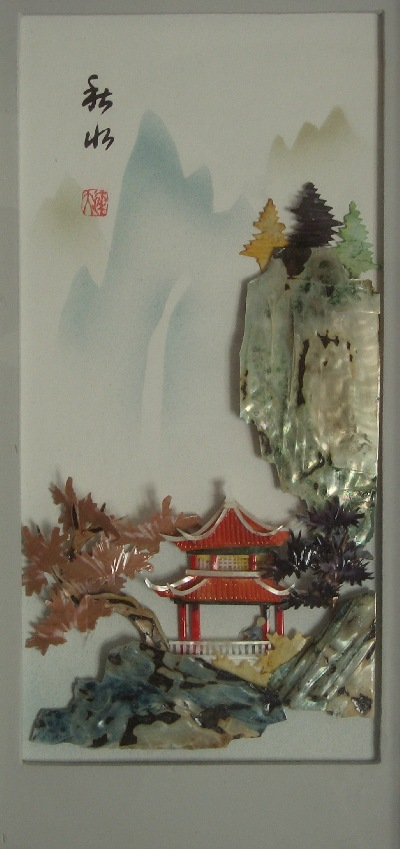 Sea shell painting of mountain pavilion