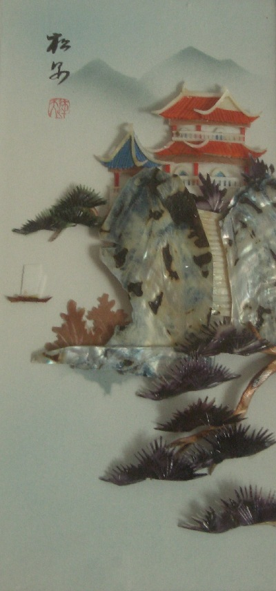 Sea shell painting of a Chinese cliff hanging scene