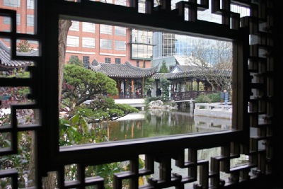 "A "" framed,""view, taken by photographer Matthew Haughey in Portland's - "" Chinese Garden of Awakening Orchids."""