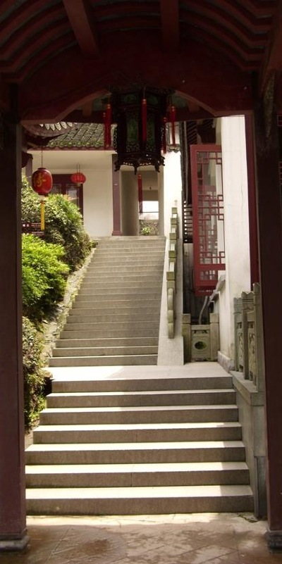 Chinese steps leading up to interesting pavilions.