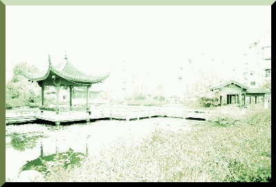 An enhanced image of the same ground level view of the Hangzhou Community Hall Garden; devoid of the residential architecture, in the background.