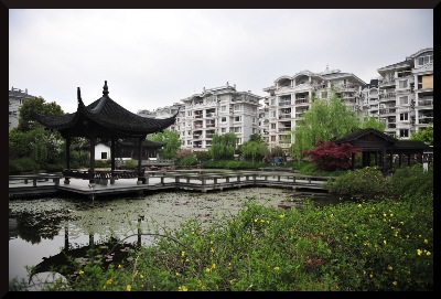 An image at ground level of the Hangzhou Community Hall Garden.