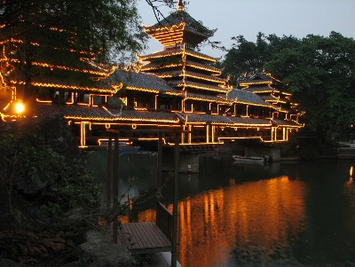 Beautiful pavilion lighting in Splendid China of Shenzhen City.
