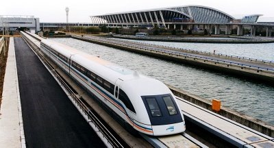 A Maglev train leaving Shanghai's International Airport.