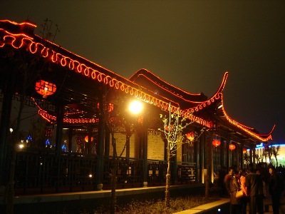 Architectural lighting features, in Yangzhou.