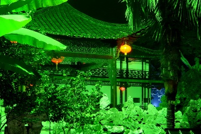 How the He yuan garden, elements are integrated and blended into Yangzhou's landscapes.