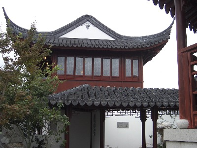 "The tower building in the Dunedin Chinese Garden  "" Lan Yuan,"" which could easily also be the scholar's library of ancient times."