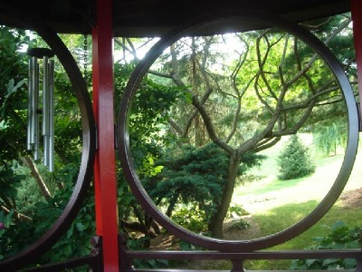 From inside the Schnormeier Chinese Cup Garden pavilion.