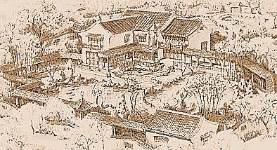 An artist's impression of a private scholar's garden.