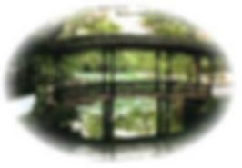 A blurred view of a Chinese garden bridge.