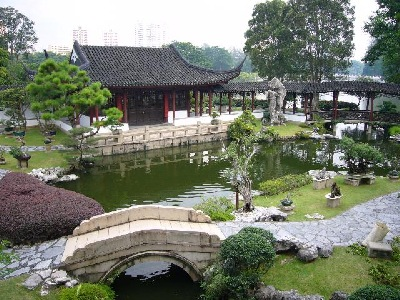 Singapore Penjing Garden Main Hall from left