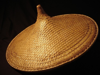 Chinese worker's hat for a protection.