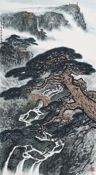 Clouds and Pinetrees in Mountain trees by painter Zhang Dentang