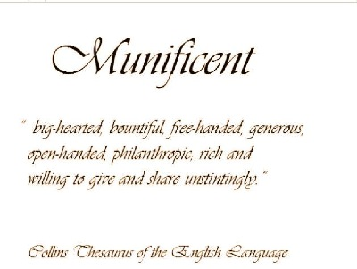 Munificent - A word defined in terms of the Jeffery Lee Wong Foundation