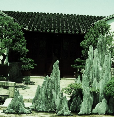 Diminishing scale, displayed with real-time architecture, tree & landscape penjing.