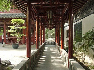 An internal corridor at the Yu Yuan Garden, in Shanghai