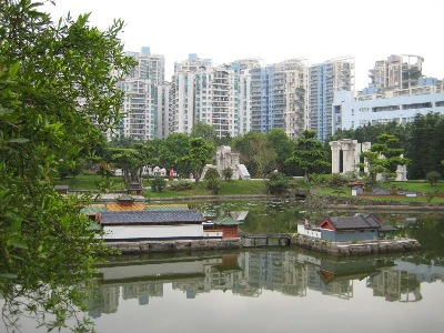 Diminutive landscape of Splendid China, with the Shenzhen Cityscape, behind.