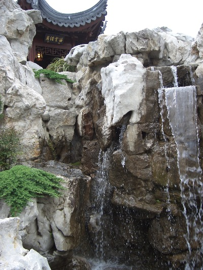 "Mountain waterfall, in the Dunedin Chinese Garden  "" Lan Yuan."""