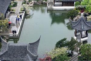 Aerial view of Portland's Classical Chinese Garden of Awakening Orchids.