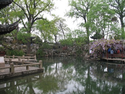 A lovely view over a pond & zig-zag bridge, in the Humble Administrator's Garden, Suzhou.