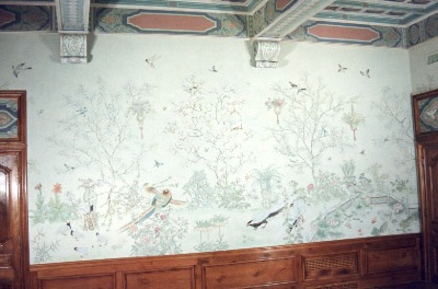 Traditional Chinese garden scene on the wall of one of Ms Weng Ru Lan's commissions.