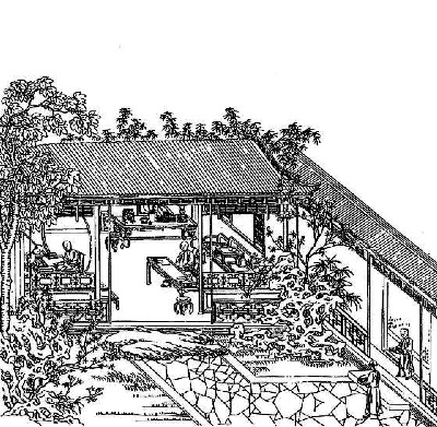 Hung Hsueh Yin Yuan T'u Chi - a woodcut by artist Lin Ching, apparently housed at the Harvard Yenching Library.
